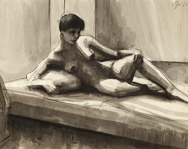 James Weeks, Nude Reclining on Bed, 1967