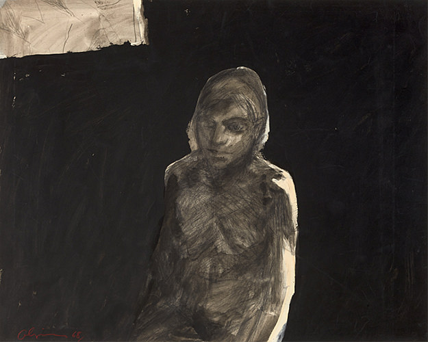 Nathan Oliveira, Figure with Black Background, 1968